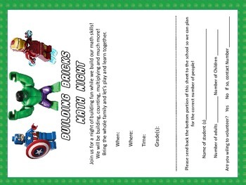 Superhero Building Brick Math Night Kit Common Core Activities K-5