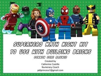 Superhero Building Brick Math Night Kit Common Core Activi