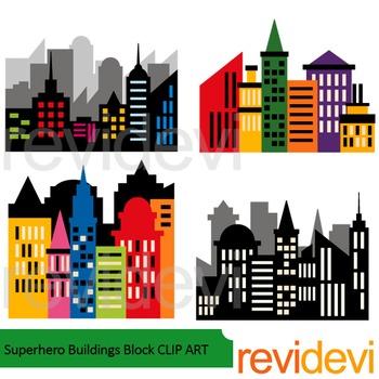 Superhero Buildings Block Clip Art