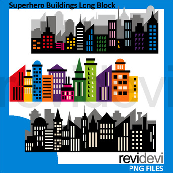 Superhero Buildings Long Block Clipart - City Skyline clip art