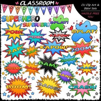 Superhero Clip Art & B&W Bundle (3 Sets)
