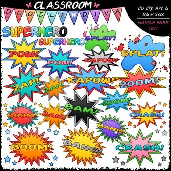 Superhero Clip Art & B&W Bundle (3 Sets)