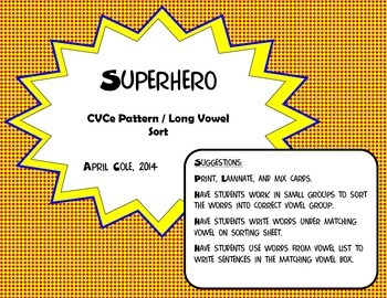 Superhero CVCe/Long Vowel Activity Reading Street