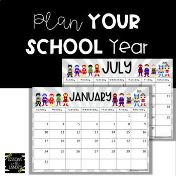 Superhero Calendar Updated! {EDITABLE} 2017-2018 School Year