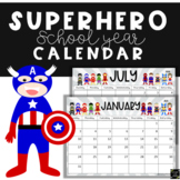 Superhero Calendar 2018-2019 School Year