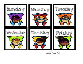 Superhero Calendar Months and Dates