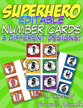 Superhero Calendar Number Cards