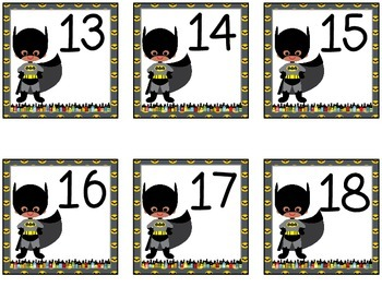 Superhero Calendar Numbers