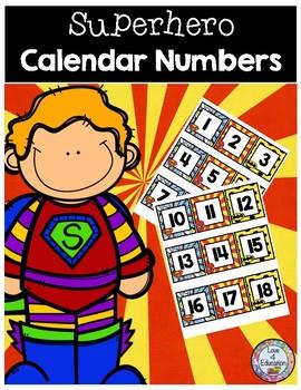 Superhero Calendar Numbers