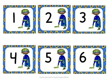 Superhero Calendar Numbers and Months