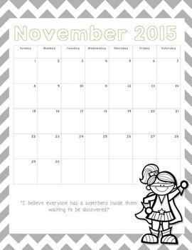 Superhero Calendar Pages for 2015-2016