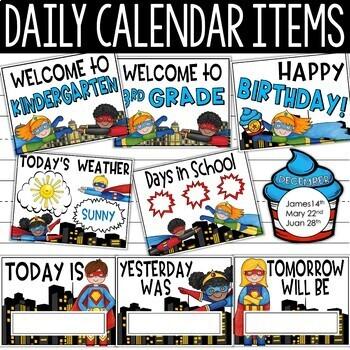 Superhero Calendar Set - Superhero Theme Classroom Decor