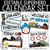 Superhero Theme Calendar Set - Superhero Theme Classroom Decor