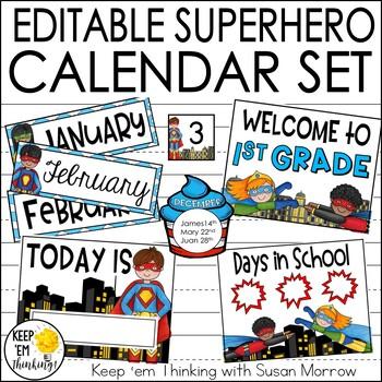 Superhero Theme Calendar Set - Superhero Theme Classroom Decor