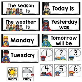 Superhero Calendar and Weather Cards