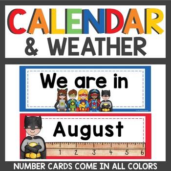 Superhero Calendar and Weather Cards