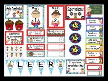 Superhero Calendar Set And Classroom Decorations {Spanish Version}