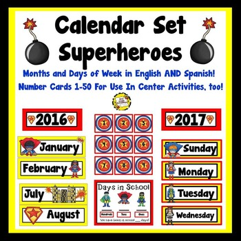 Superhero Calendar Set (English and Spanish included!)