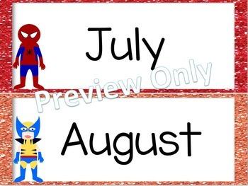 Superhero Calendar Set - Classroom Decor