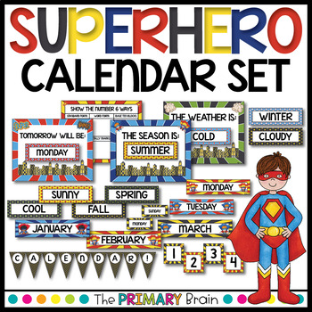Superhero Calendar Set Including Weather, Seasons, Math Power and more!