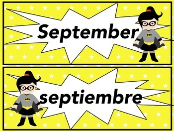 Superhero Calendar  (Spanish & English)