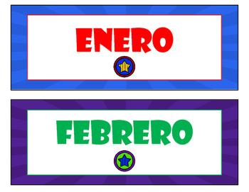 Superhero Calender Set in English and Spanish