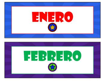 Superhero Calender Set in Spanish