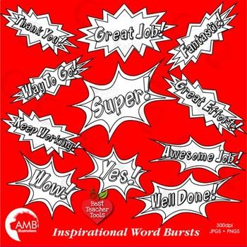 Superhero Callouts Clipart, Digital Stamps, Inspirational Word Bursts, AMB-2023