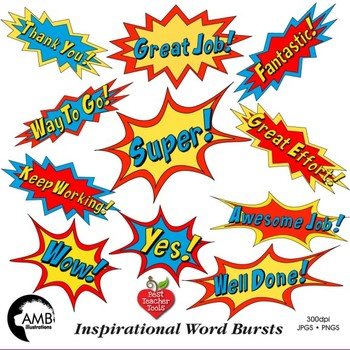 Superhero Callouts Clipart Word Bursts Inspirational Words AMB60 Impressive Inspirational Words