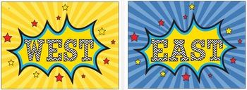 Superhero Cardinal Direction Posters