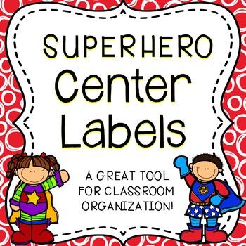 Classroom Center Labels - Superhero Theme