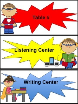 Superhero Center Labels or Tags With Editable Text