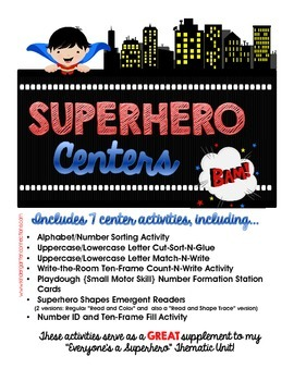 Superhero Centers - SUPER Center Activities for Beginning Kinders!