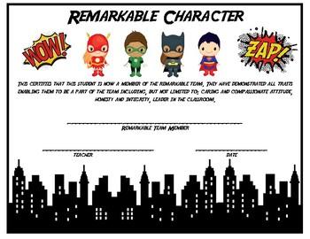 Superhero Certificate Remarkable Character