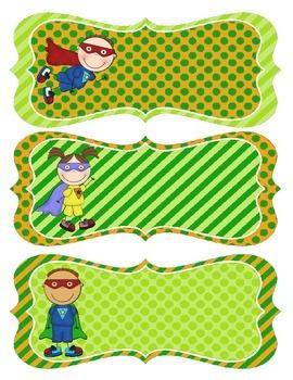 Orange and Green Superhero Nametags