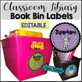 Labels EDITABLE Book Bin Labels for Classroom Library {Superhero Theme}