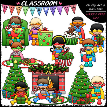 Superhero Christmas Kids Clip Art - Christmas Clip Art & B&W Set