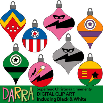 Superhero Christmas Ornaments Clipart