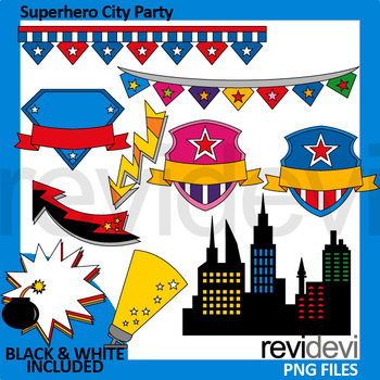 Superhero City Party clipart
