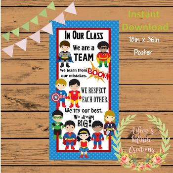 Superhero Class Expectation Poster