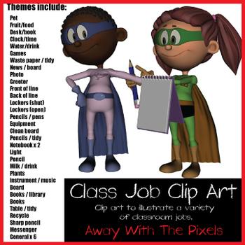 Superhero Class Jobs Clip Art - Class Monitor Clipart - Now With Blacklines