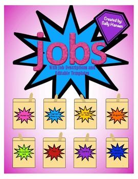 Superhero Classroom Job Chart with Headers and Descriptions (Editable Template)