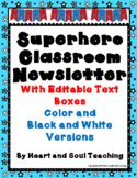 Superhero Class Newsletter With Editable Text Boxes