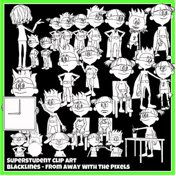 Superhero Class Rules Clip Art - Back to School Clipart Now With Blacklines!