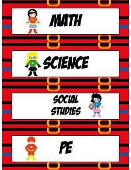 Superhero Class Schedule Cards