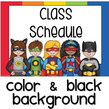 Superhero Themed Schedule Cards