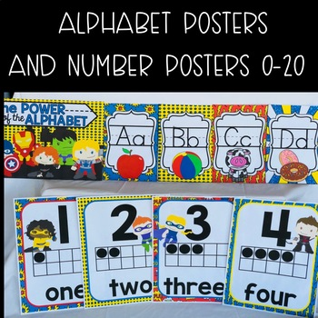 Superhero Classroom Alphabet and Number Poster Decor Kit