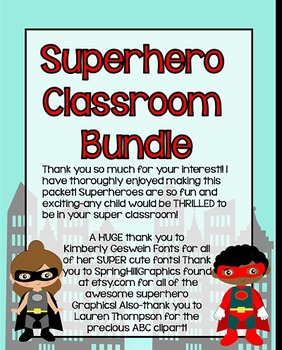 Superhero Classroom Bundle *rules, number posters, color posters, and more!