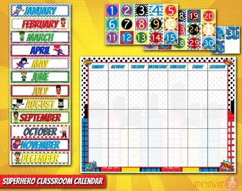 Superhero Classroom Calendar Classroom Decorations Calendar Set