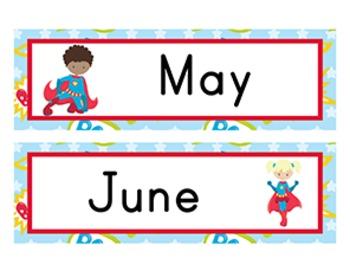 Superhero Classroom Décor | Calendar Headers